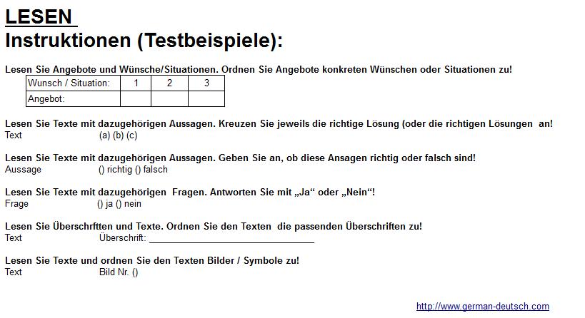 Modul Lesen bei der Deutschprüfung – Test-Übungen & Tipps für A 1, A 2, B 1