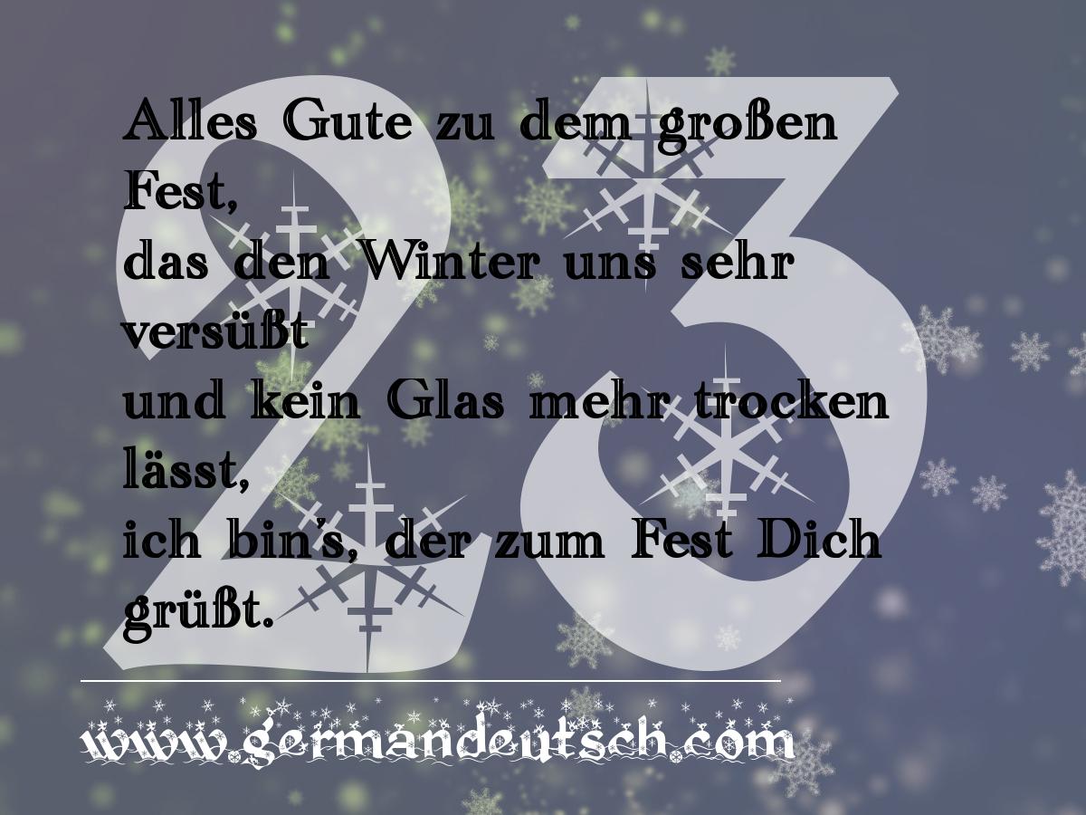 23. 12. – Adventskalender für den Deutschkurs