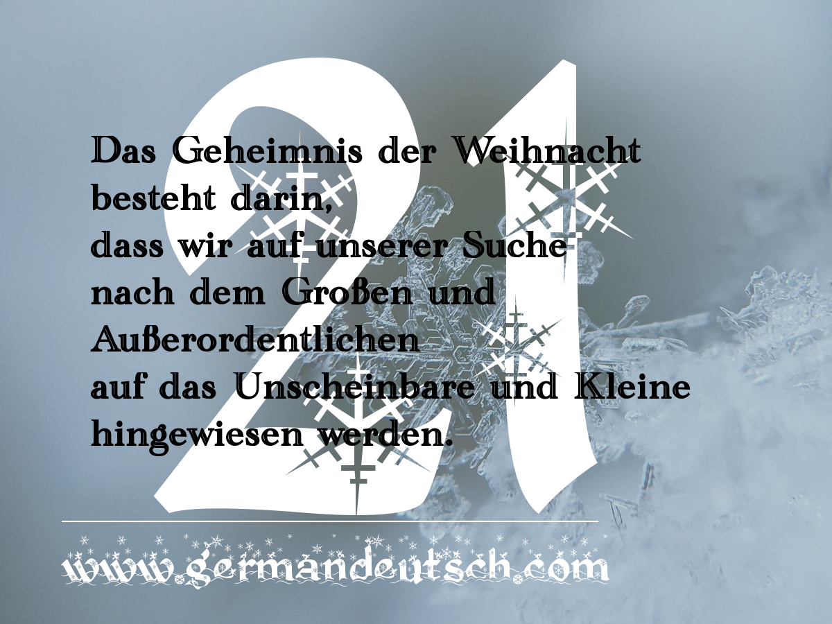21. 12. – Adventskalender für den Deutschkurs