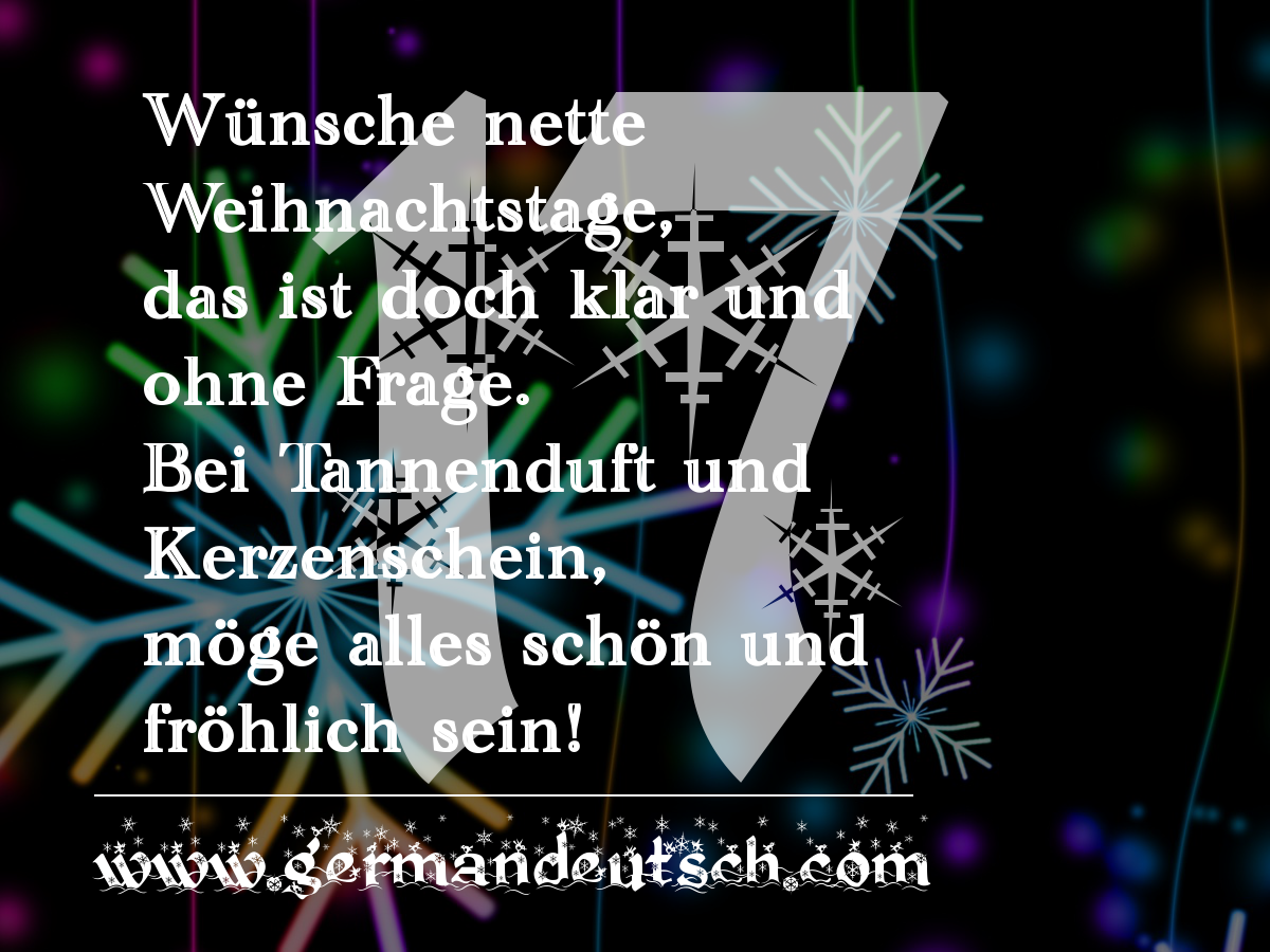 17. 12. 2016 – Adventskalender für den Deutschkurs