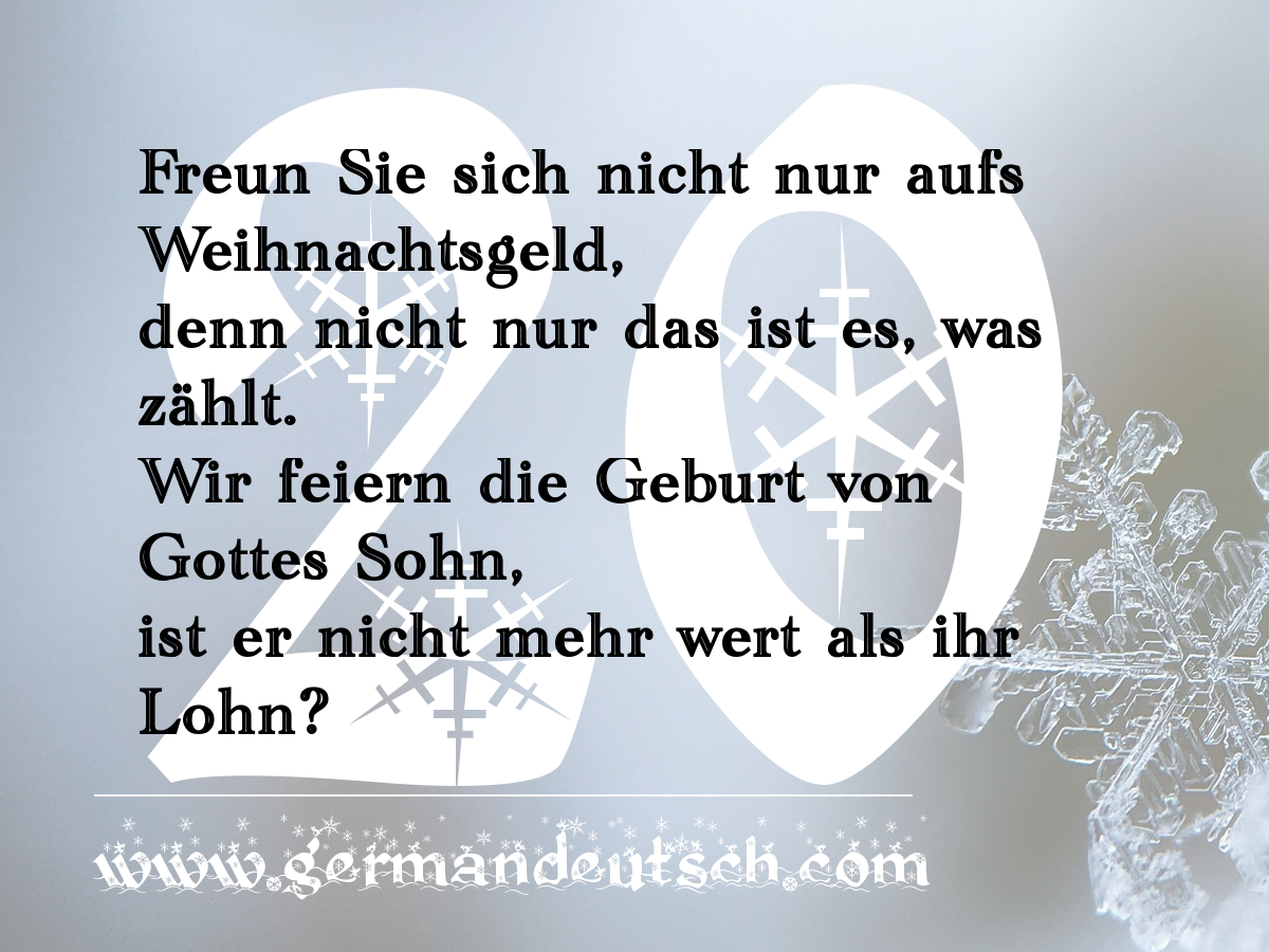 20. 12. 2016 – Adventskalender für den Deutschkurs