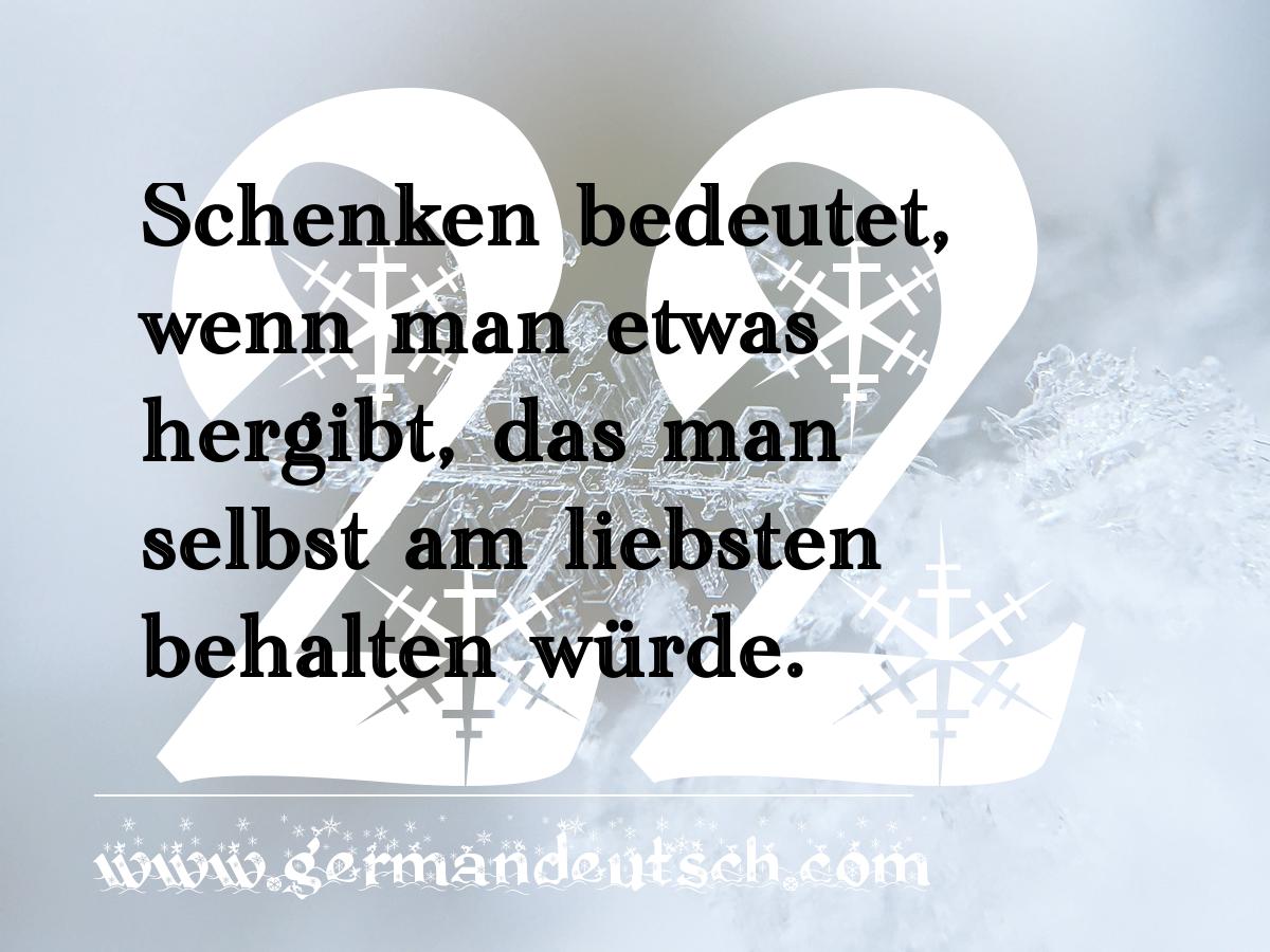 22. 12. – Adventskalender für den Deutschkurs