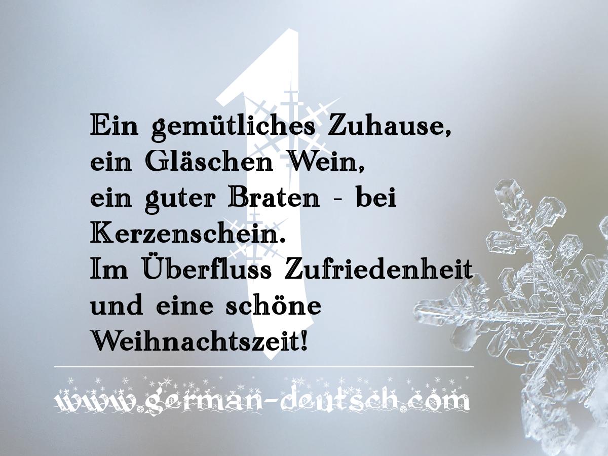 1. 12. – Adventskalender für den Deutschkurs