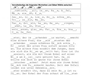 """Deutsche Rechtschreibung für die Deutschprüfung: Doppelkonsonanten (""""bb"""", """"pp"""") – Übung mit Lösung"""