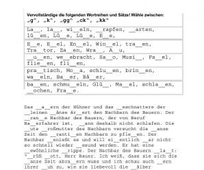 """Deutsche Rechtschreibung für die Deutschprüfung: Doppelkonsonanten (""""ck"""", """"kk"""", """"gg"""") – Übung mit Lösung"""